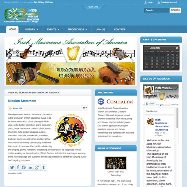Web portal for Irish Musicians Association of America featuring complete social community component and events management component for traditional Irish Music sessions and events for Comhaltas Ceoltóirí Éireann.