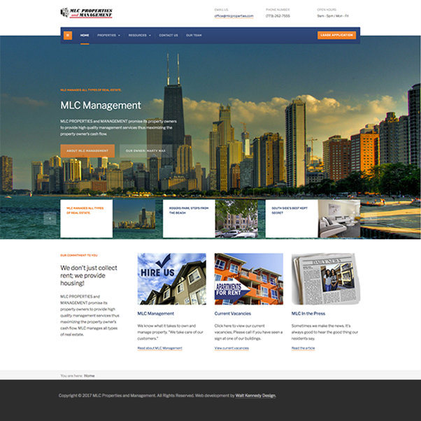 MLC Properties and Management needed a real estate / property management web portal with integrated tenant and owner management applications for firm managing thousands of rental apartments in the Greater Chicagoland area.